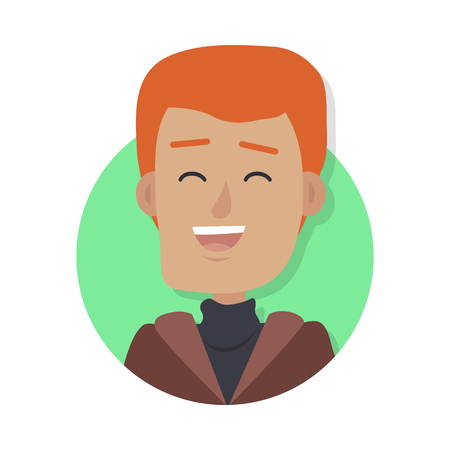 Man Face Emotive Vector Icon in Flat Style