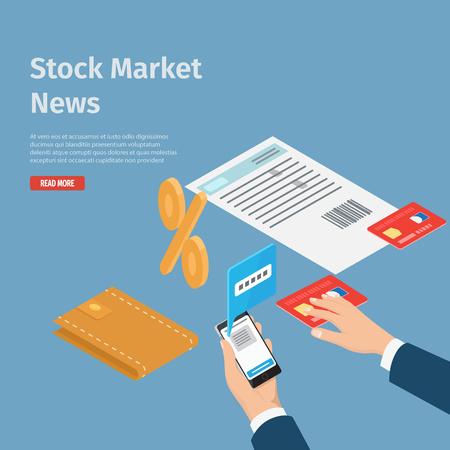 Stock Market News Internet Info Page Illustration Illustration