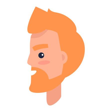 Personnage masculin de Redhead dans l'illustration de profil Banque d'images - 85278345
