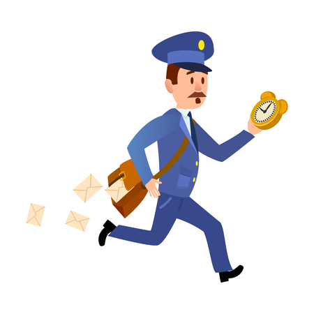 Running Mailman Hurries to Deliver Mails. Vector Vettoriali