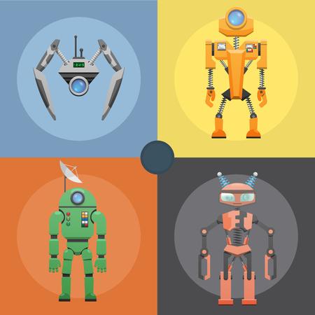 Set of Metallic Robots or Droids on Four Icons