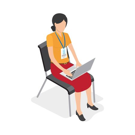 pc: Woman Character with Laptop Isolated Illustration