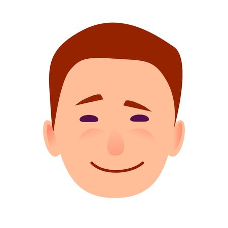 若い男は笑みを浮かべて顔フラット ベクトル アイコン