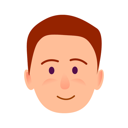 Brunette Boy with Smile Close-up Portrait Flat