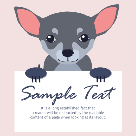 Chihuahua with Signboard Isolated Illustration