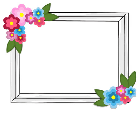 Rectangular Photo Frame Colorful Flowers Isolated