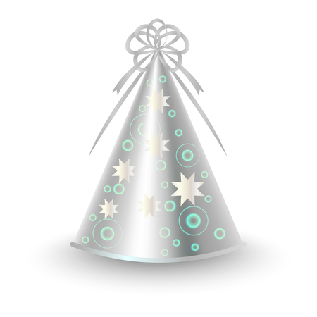 Silver Party Hat with Ribbon Bow and Stars Vector