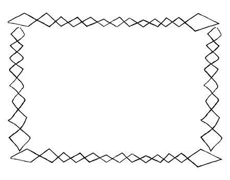 Simple Frame with Square Doodles Rectangular Shape Çizim