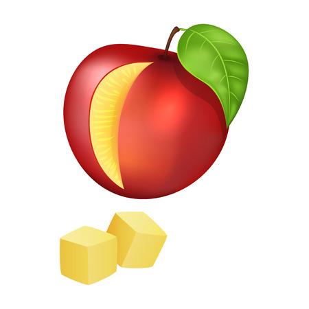 Sliced and Diced Peach Vector Illustration