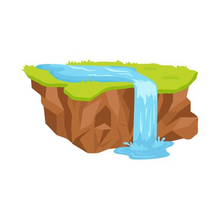 Stuk grond met waterval geïsoleerde illustratie