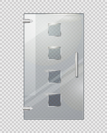 Glass Door with Squares on Transparent Background