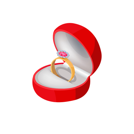 Engagement Ring in Red Box with Precious Stone