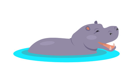 Hippo Cartoon Icon in Flat Design Çizim