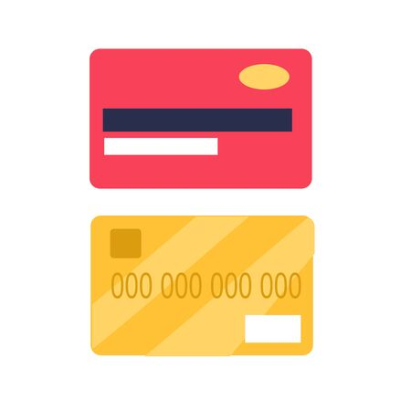 Credit Cards from Two Side View Flat Vector Icon Stock Illustratie