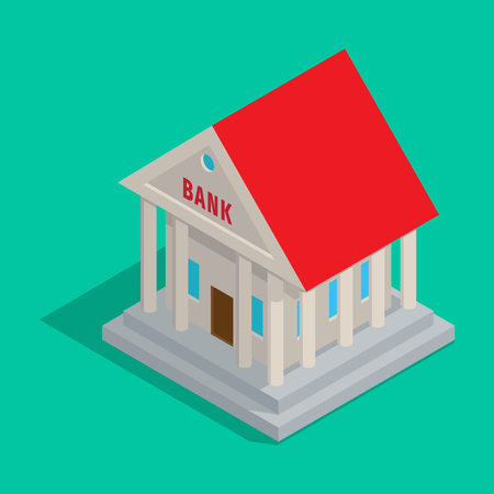 Bank Building in Ancient Style Isometric Icon