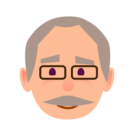 Positive Old Man in Glasses Face Flat Vector Icon