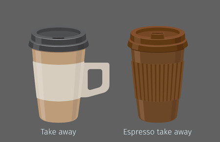 Espresso in Paper Cups with Lid and Handle Vector Иллюстрация