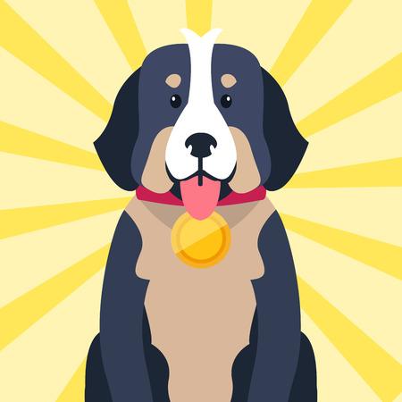 首にベルンの賞を持つマウンテン犬の孤立