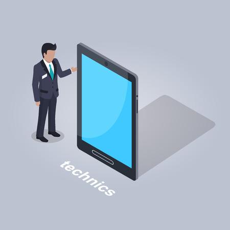 Technics Illustration. Businessman and Tablet