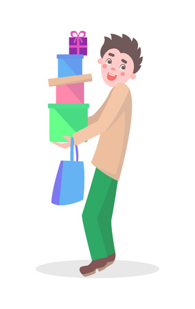 Man with Gifts Boxes Flat Cartoon Vector Icon