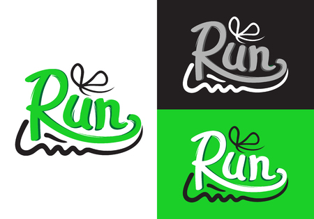 Running Shoe-symbolen op verschillende achtergrond.