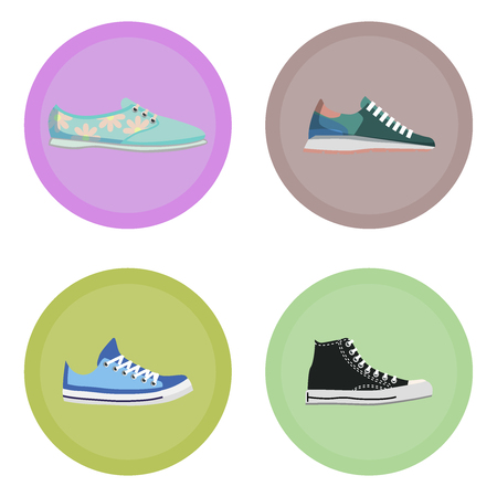 Various Modern Sneakers Flat Vector Icons Set Çizim
