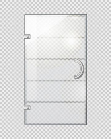 Transparent Door on Grey Checkered Background Иллюстрация