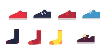 Men Cartoon Sneakers and Socks Illustrations Set Çizim