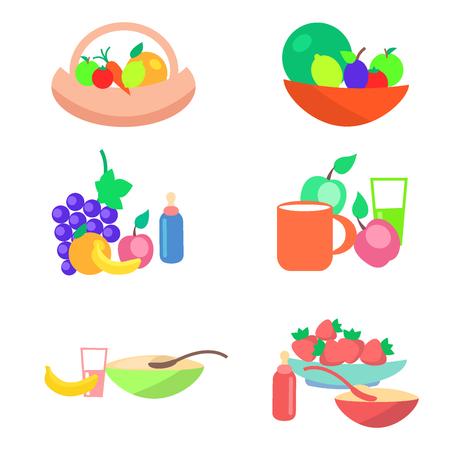 子供健康的な配給フラットベクトルコンセプト  イラスト・ベクター素材