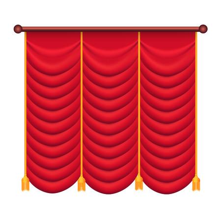 Rode gordijnen. Silk Theatre Curtain Illustration