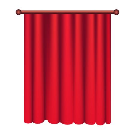 Long Silk Red Theater Curtain Hangs on Cornice Ilustração