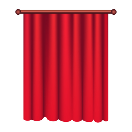 Long Silk Red Theater Curtain Hangs on Cornice Illustration