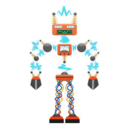 探知器のイラストが付いている大きい電気ロボット  イラスト・ベクター素材