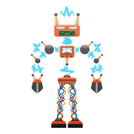 Grote elektrische robot met detectoren illustratie