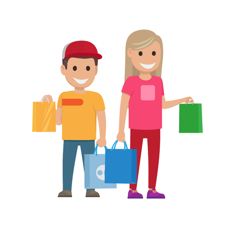 Girl and Boy with Bags Illustration. Shopping Set