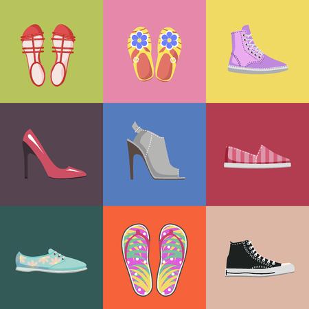 ファッショナブルな靴コレクション広告ポスター