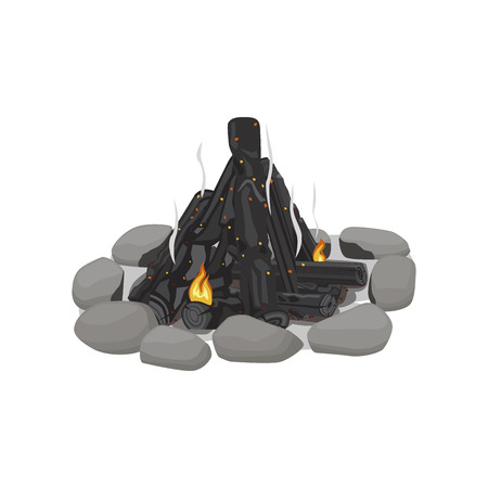 Smoldering Bonfire Lined with Stones on White