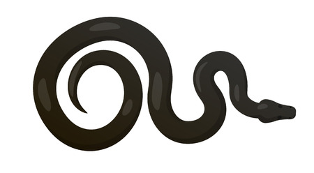ectothermic: Slither Black Python Snake Top View Vector Icon