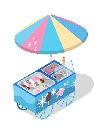 아이스크림 카트 저장 아이소 메트릭 벡터 아이콘 일러스트