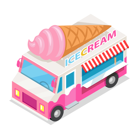 Ice Cream Truck in isometrische projectie. Vector Stock Illustratie