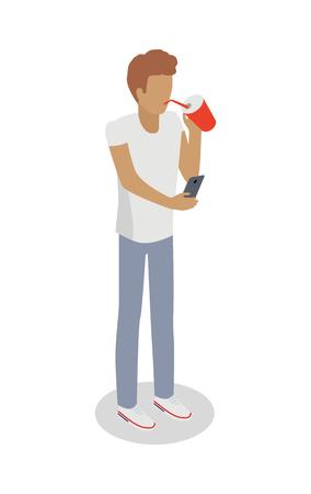 tracking: Isolated Faceless Boy Drinks Something, Uses Phone