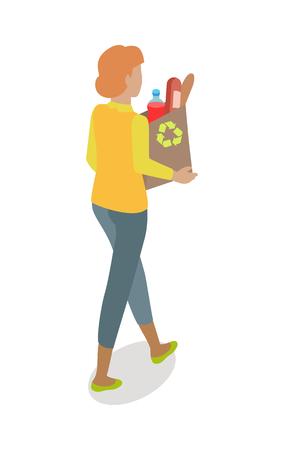 紙の袋を持つ女性は日々の製品を購入ベクター