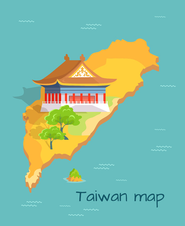 Cartoon Taiwan Map with Traditional Asian Building