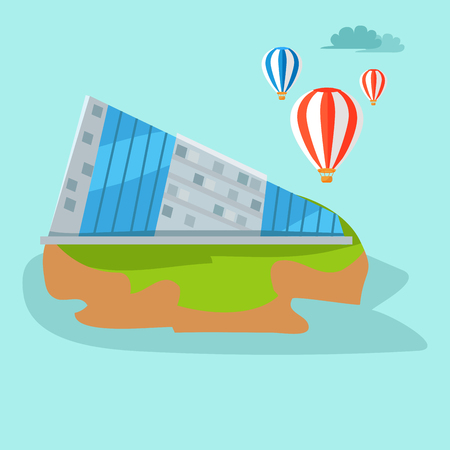Taiwan Map with Triangular Building Illustration