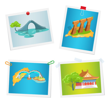 Taiwanese Attractions on Images Attached to Wall Çizim