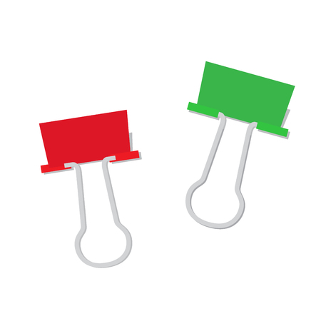 Metal Paper Clip of Red and Green Color Isolated