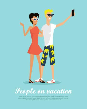 People on Vacation Making Selfie on Smartphone Illusztráció