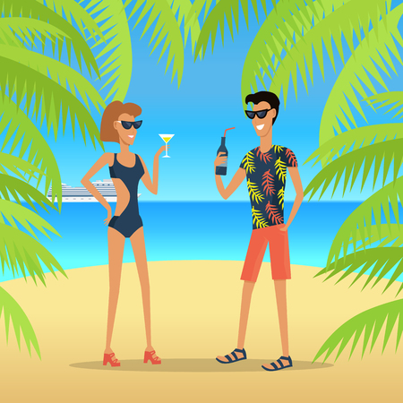 People on Vacation Vector Concept in Flat Design 向量圖像