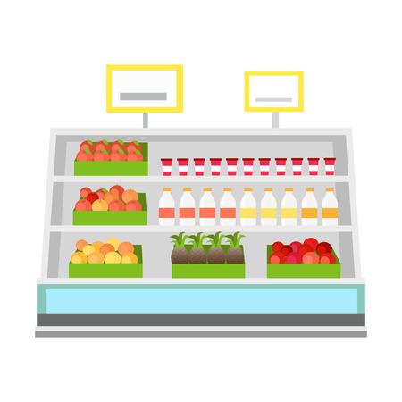 Planken met producten in de supermarkt. Vector in vlakke stijl ontwerp. Vitrine met tomaten, appels, sinaasappels, ananas, melk. yoghurt in de supermarkt. Assortiment en winkel apparatuur concept. Stock Illustratie