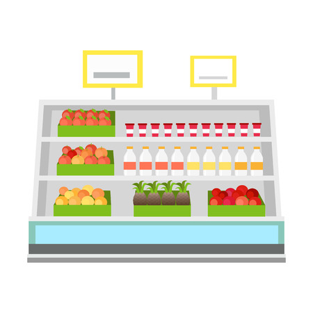 Shelves with products in grocery store. Vector in flat style design. Showcase with tomatoes, apples, oranges, pineapples, milk. yogurt in supermarket.  Assortment and shop equipment concept.